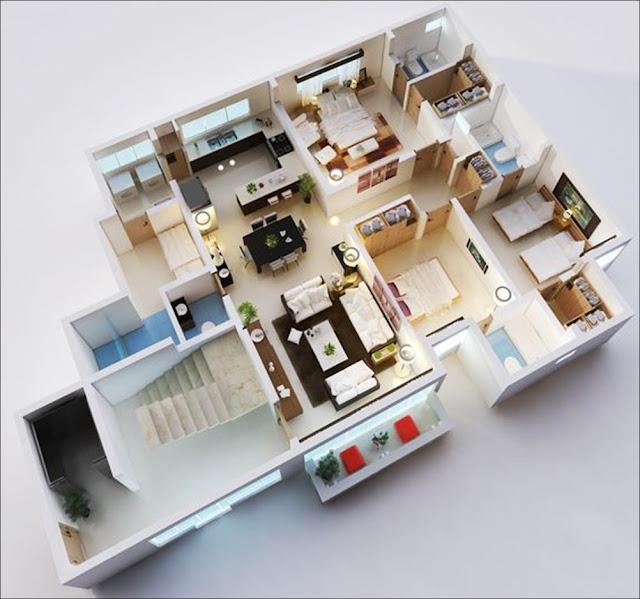 Planta de casa com closet e banheiro no quarto