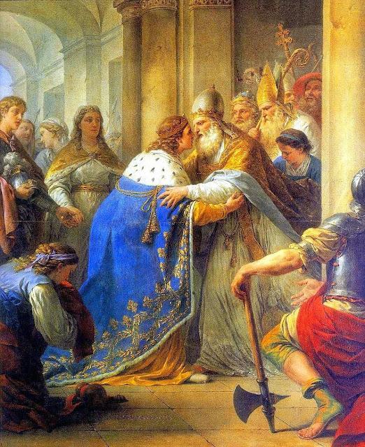 São Luis, rei da França, é recebido pelo Papa Inocencio IV em Lyon. Louis-Jean-Francois Lagrenée (1724 - 1805)