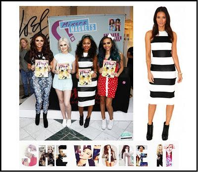 Black, Bodycon, Dress, Leigh-Anne Pinnock, Little Mix, Midi Dress, Missguided, Monochrome,  Sleeveless, Striped, White