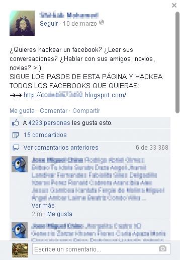 Falso hack de Facebook