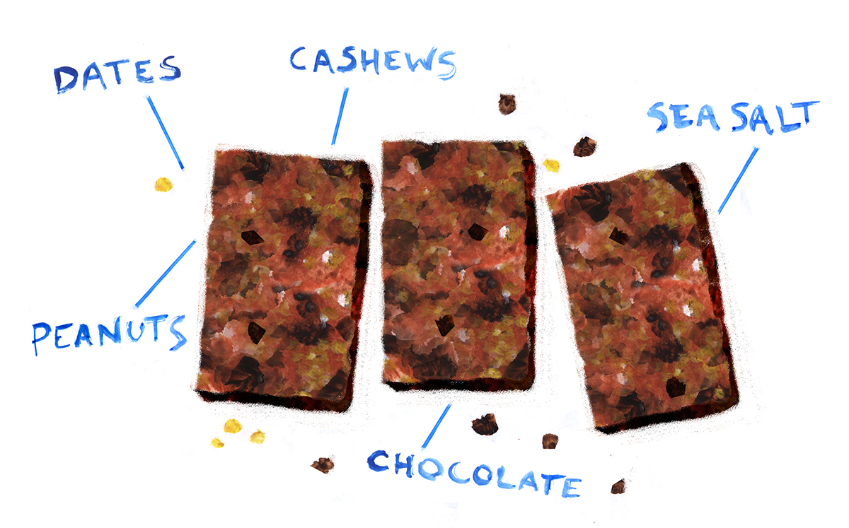 Date Peanut Bars, Minty's Table, Lauren Monaco Illustration, Chocolate, Vegan