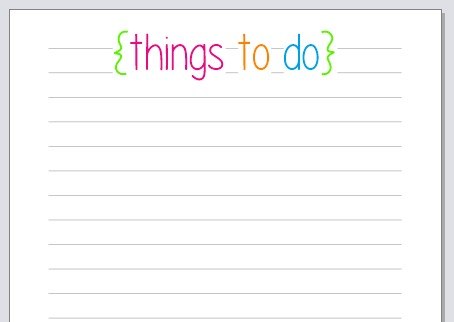 Planner Fun Things To Do Notepaper printable