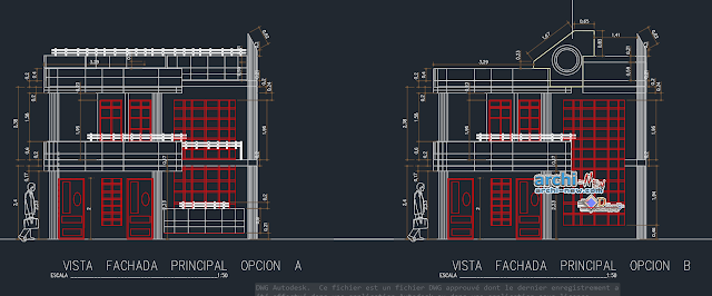 Family housing 3 levels in AutoCAD