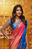 Puja Hegde looks stunning in Red saree at launch of Anutex shopping mall ~ Celebrities Galleries 001.JPG