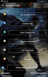 BBM Whatsapp Mod Tema Spiderman Black V3.0.1.25 Apk2