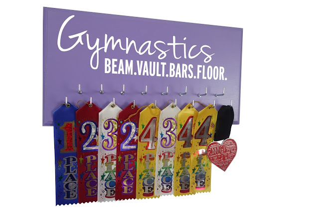gymnast ribbon medals holder hanger display rack
