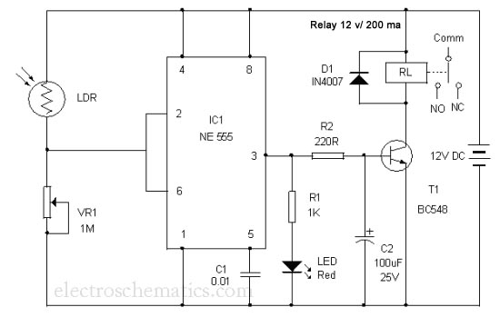 555 based Automatic Twilight Switch Control | hobbytronics
