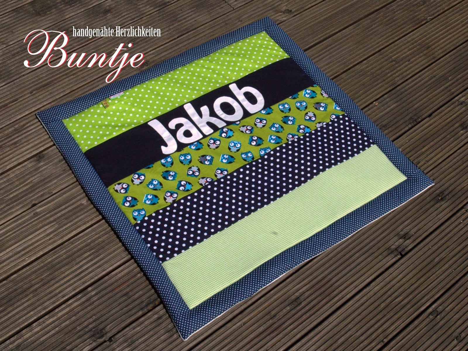 Krabbeldecke Kuscheldecke Decke Baby Name Geschenk Geburt Taufe Junge Jakob Jacob Eulen blau grün Fleece Baumwolle Buntje nähen