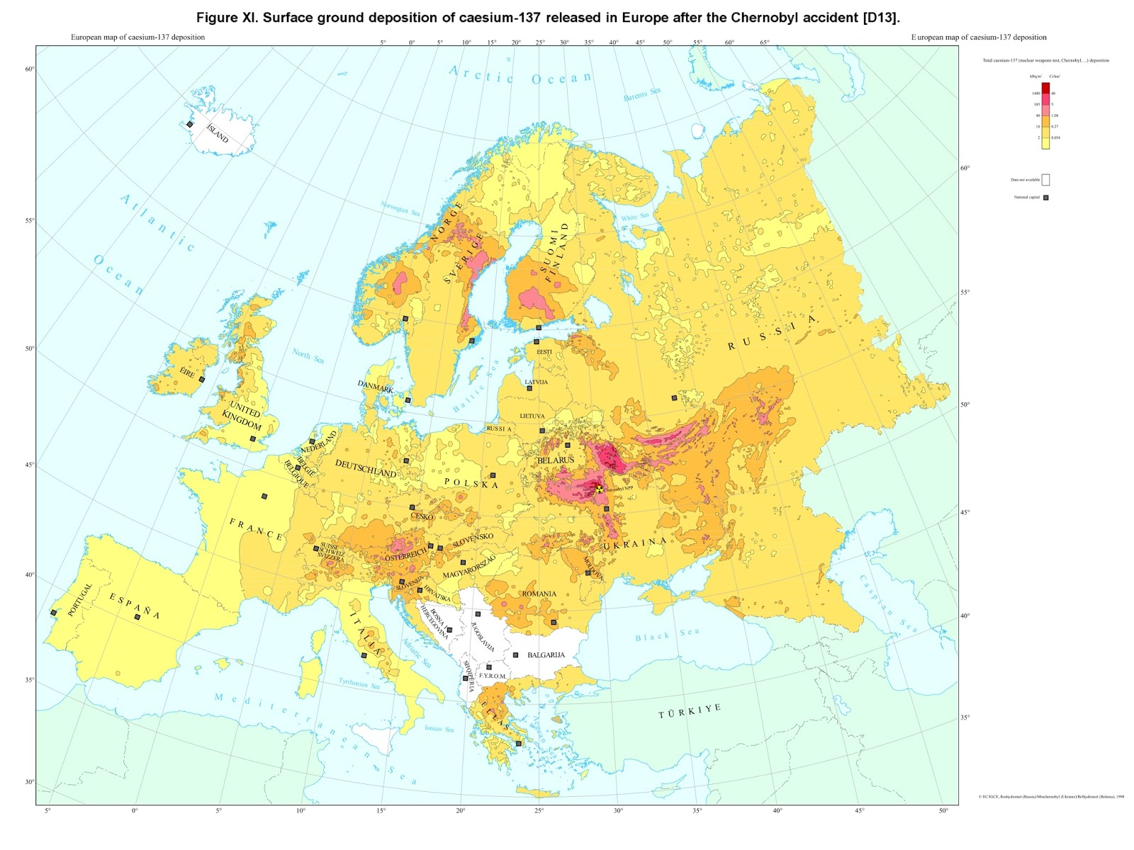 Surface ground depostiton of Caesium-137 released in Europe after the Chernobyl accident