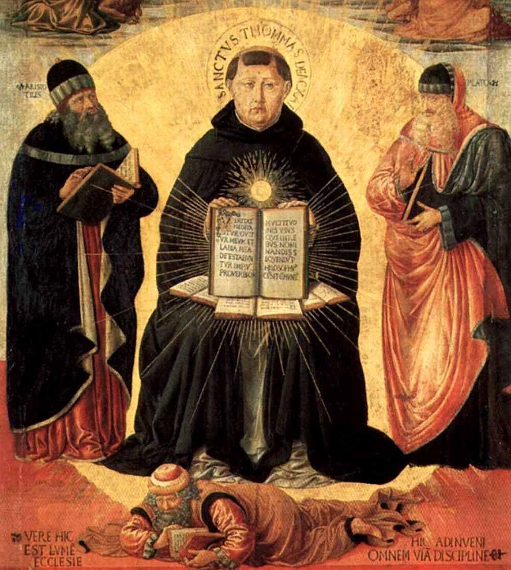 São Tomás de Aquino, apoiado em Platão e Aristotes, esmaga Averroes, 'sábio' maometano
