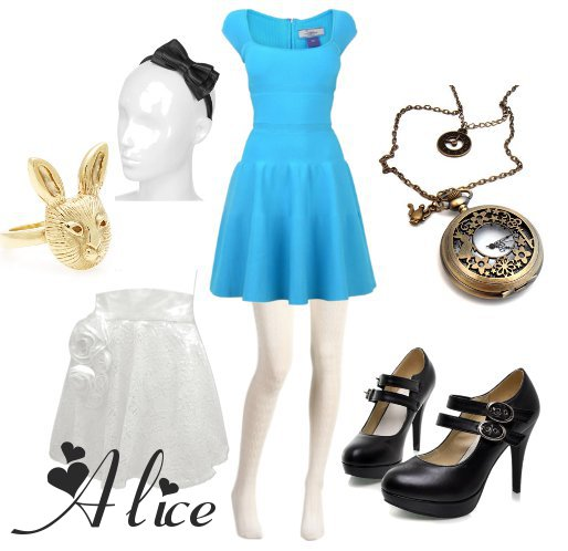 Alice Im Wunderland Ein Klassiker Unter Den Kostümen Blaues Kleid Weiße Schürze Schwarze Schuhe Haarschleife Paar Accessoires Schon Ist Das