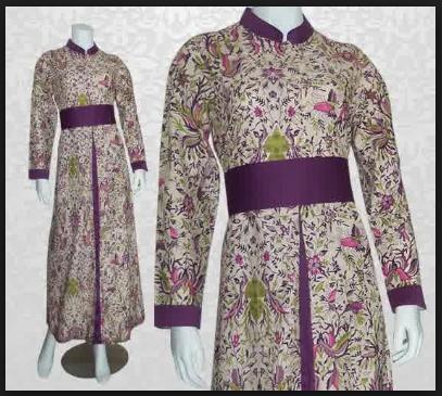 Model gamis batik untuk wanita simpel elegan
