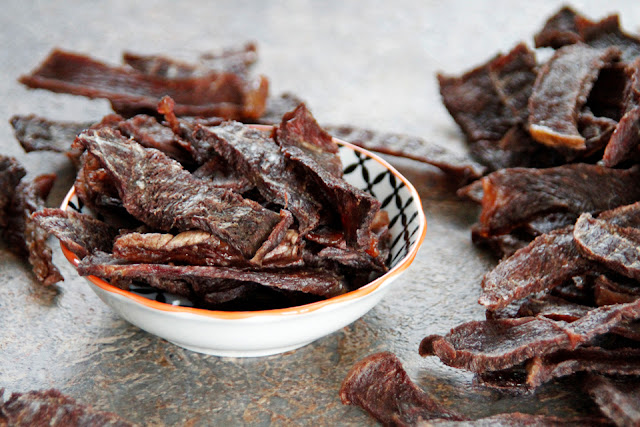 Homemade beef jerky dog treat