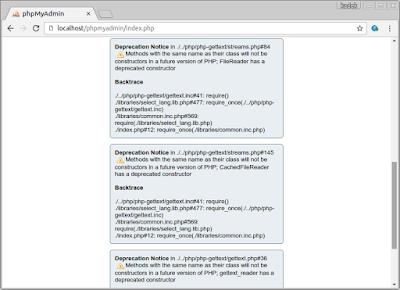 phpMyAdmin deprecation notice error Lubuntu 16.04