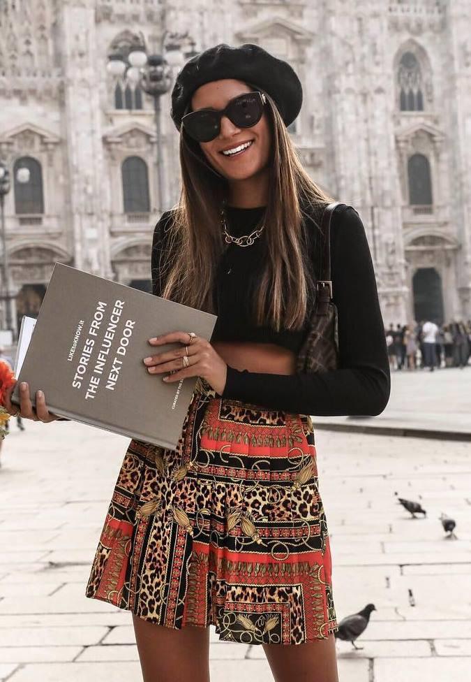 how to wear a black beret : printed skirt + bag + black crop top