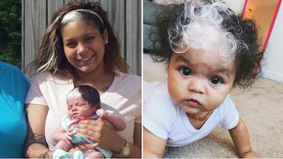 Bebê nasce com mecha de cabelo igual a mãe