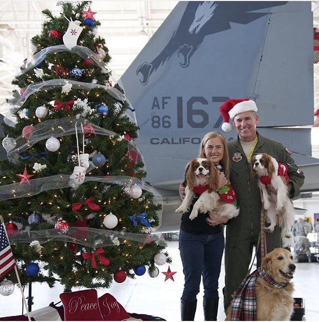 Family Christmas photo with Cavalier King Charles Spaniels by F-15 fighter jet