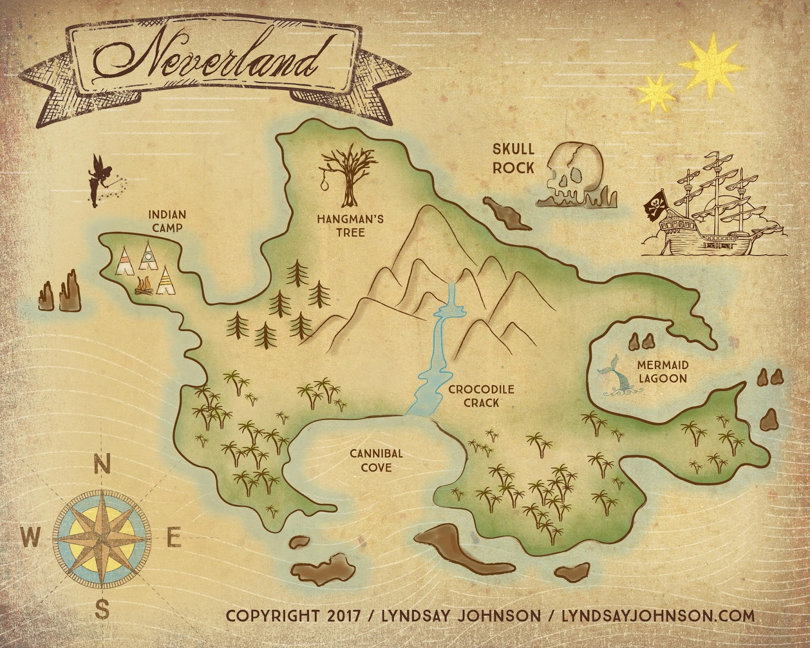 Lyndsay Johnson Neverland Map Downloadable Print - I have a map