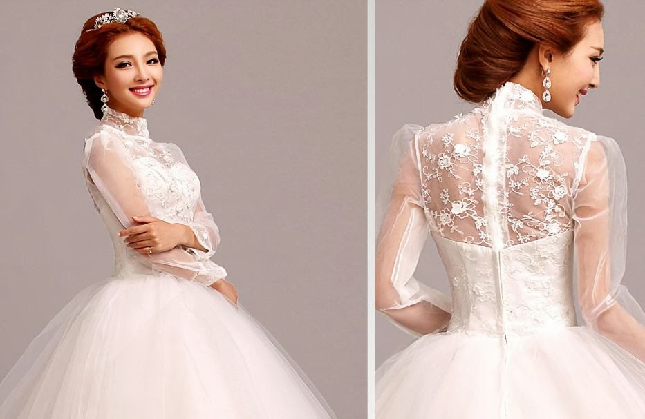 High Neck Long Sleeves Lace White Wedding Gown :: My Gown