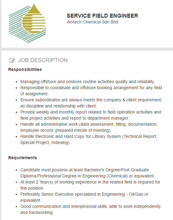 Oil &Gas Vacancies: SERVICE FIELD ENGINEER -Amtech Chemical -Terengganu