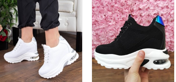 Pantofi sport dama cu platforma inalta de vara albi, negri moderni