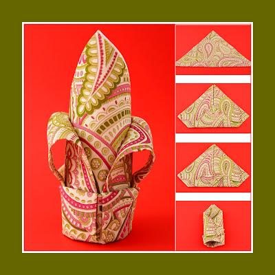 Eine farbige Lilie aus eine Serviette mit Muster
