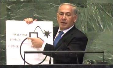 Netanyahu draws Iranian bomb