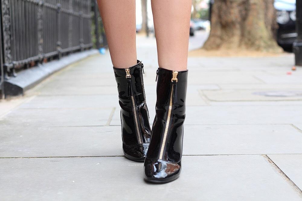 public desire patent ankle boots gold zip