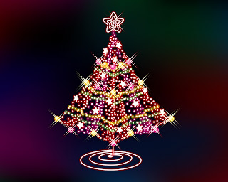 Awesome Christmas electric tree wallpaper