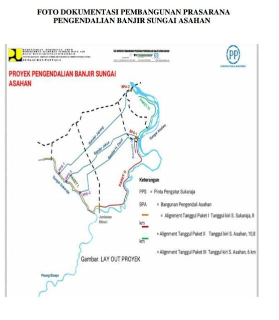 Peta lokasi pembangunan tanggul di Asahan.