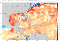 Sea-surface temperatures early on Thursday, February 23, 2017, were running 1-2°C (1.8-3.6°F) above average over large parts of the Gulf of Mexico, Caribbean, and northwest Atlantic. (Image credit: www.tropicaltidbits.com, via Eric Blake) Click to Enlarge.