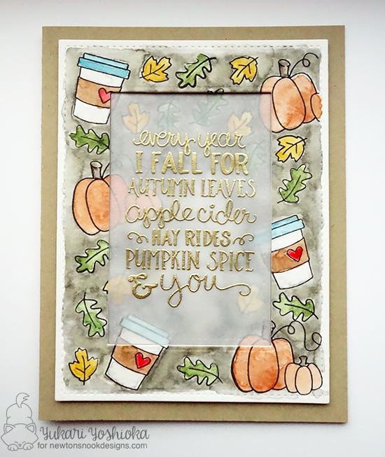 Fall coffee & pumpkin card by Yukari Yoshioka | Fall-ing For You Stamp set by Newton's Nook Designs #newtonsnook #pumpkinspice #coffee