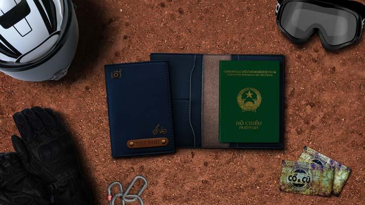ví đựng passport màu xanh dương đậm
