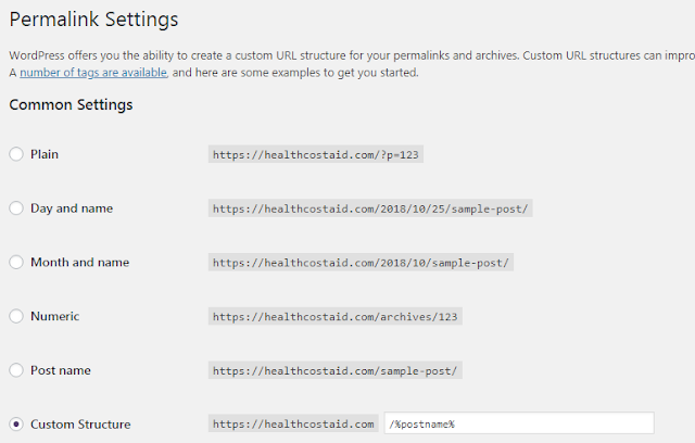 Permalink Settings to create a custom URL structure