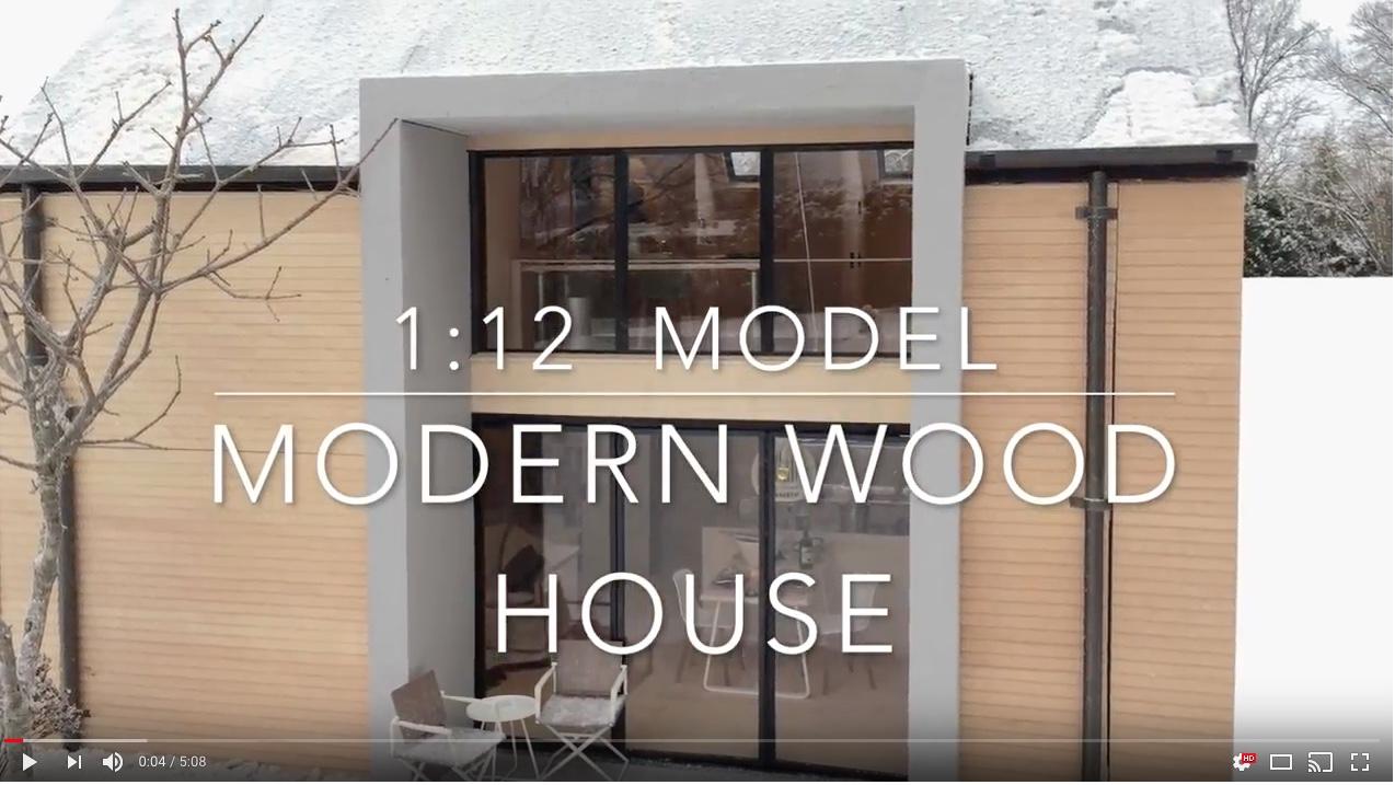 Video of modern wood house model