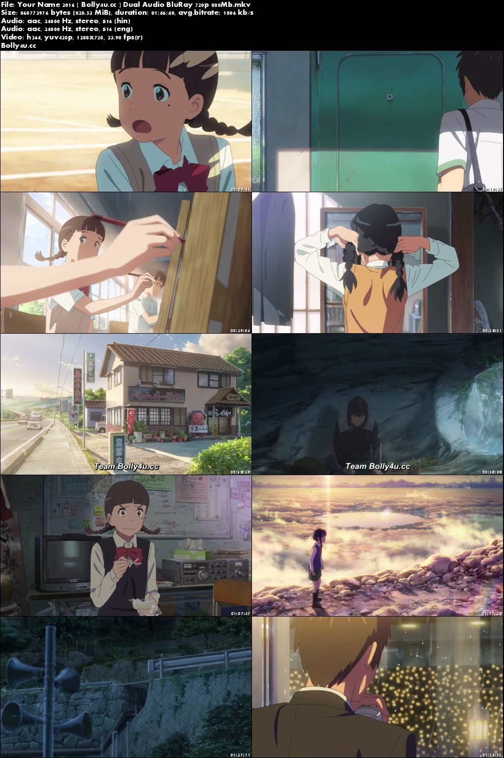 Your Name 2016 BluRay 800MB Hindi Dual Audio 720p Download