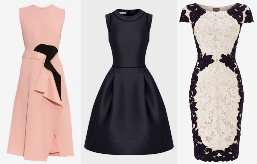 Photo horse race appropriate pink dress, navy dress and a lace dress