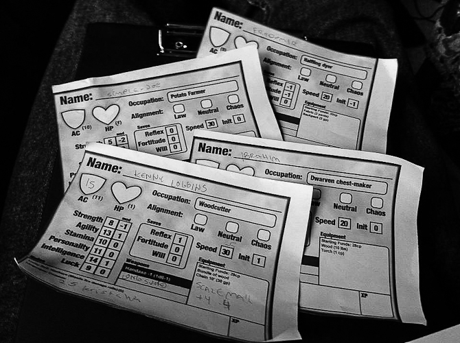 Dungeon Crawl Classics rpg character sheets