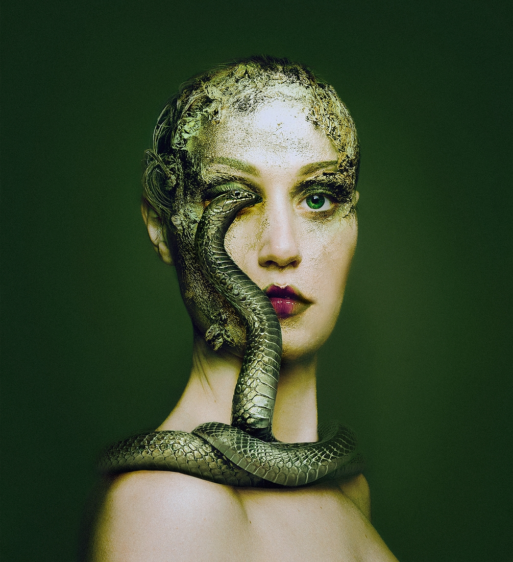 02-Green-Snake-Flora-Borsi-Animeyed-Self-Portraits-Surreal-Photographs-www-designstack-co