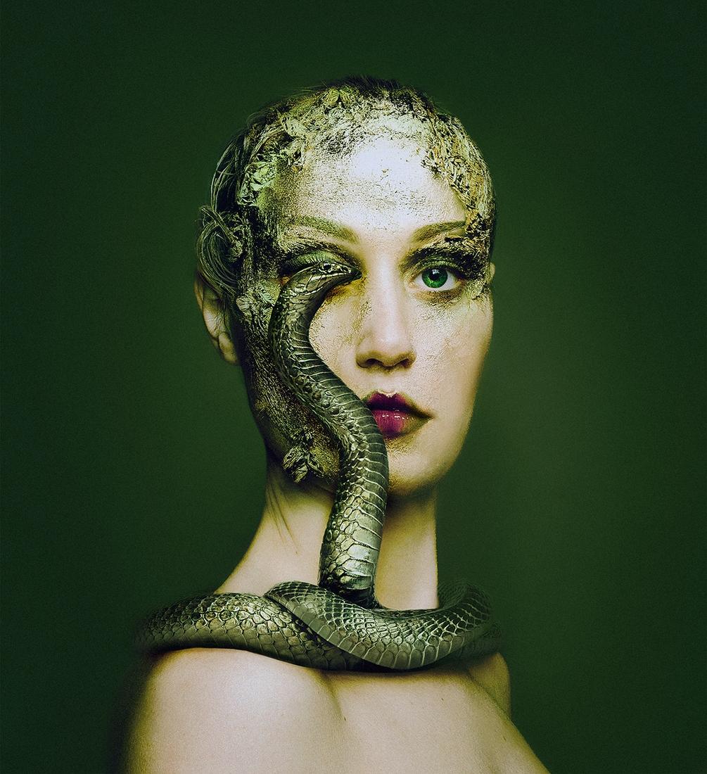 02-Green-Snake-Flora-Borsi-Animeyed-Self-Portraits-Surreal-Photographs-www-designstack-co