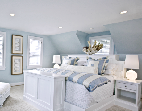 Coastal Cottage Bedroom Design Crisp White with Soft Blue