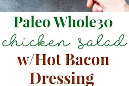Kale Salad with Chicken, Caramelized Onions, and Hot Bacon Dressing {Paleo}
