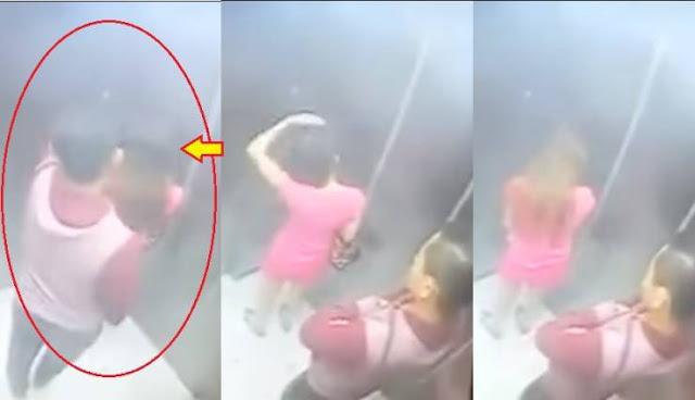 شاهد ماذا فعل هذا الشاب بالفتاة داخل المصعد؟ ! تحذير هام الفتيات من ركوب المصاعد بمفردهن مع أشخاص غرباء!