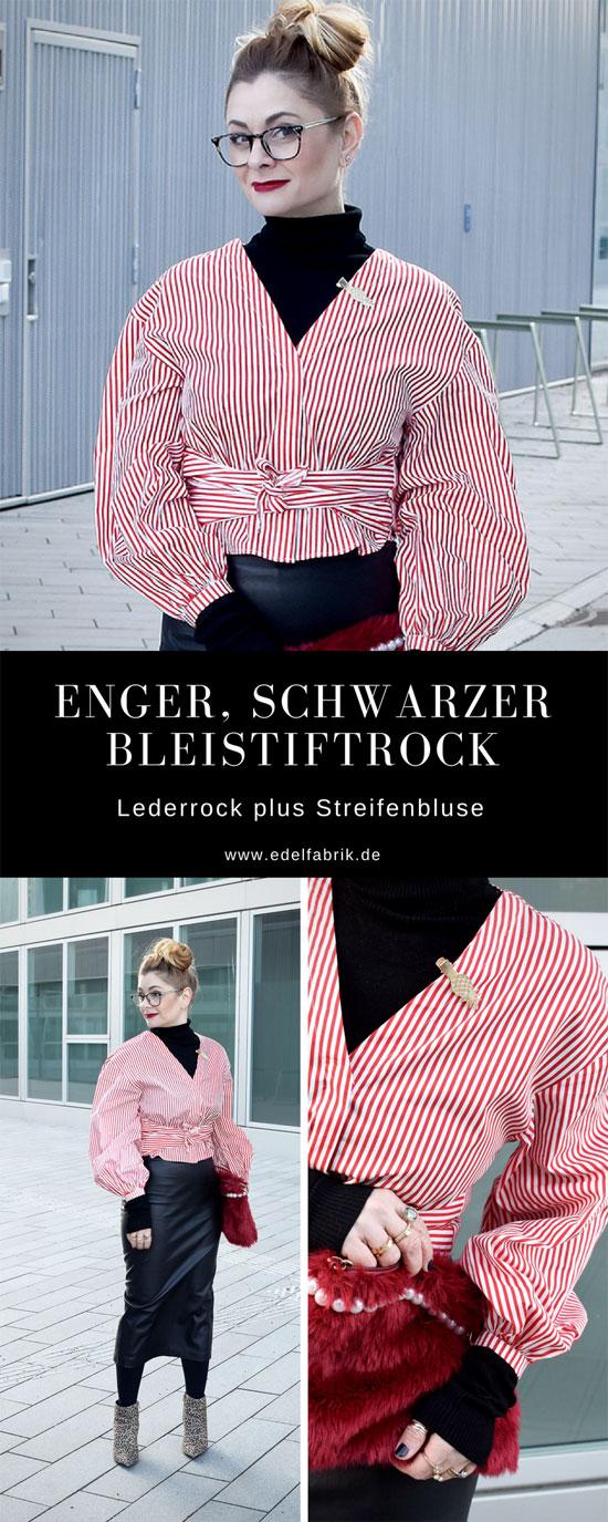 Engerm schwarzer Rock aus Glattleder, Bluse mit Streifen, Leolook