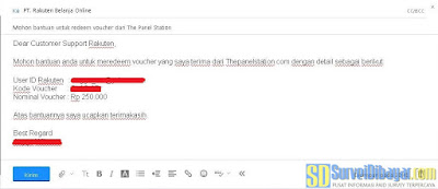 Email permintaan redeem eVoucher Rakuten.co.id dari The Panel Station Indonesia | SurveiDibayar.com