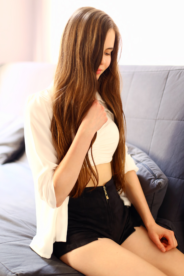 white shirt long hair girl outfit