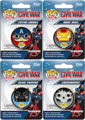 Captain America: Civil War Pop! Marvel Enamel Pin Series by Funko - Captain America, Iron Man, Black Panther & Crossbones