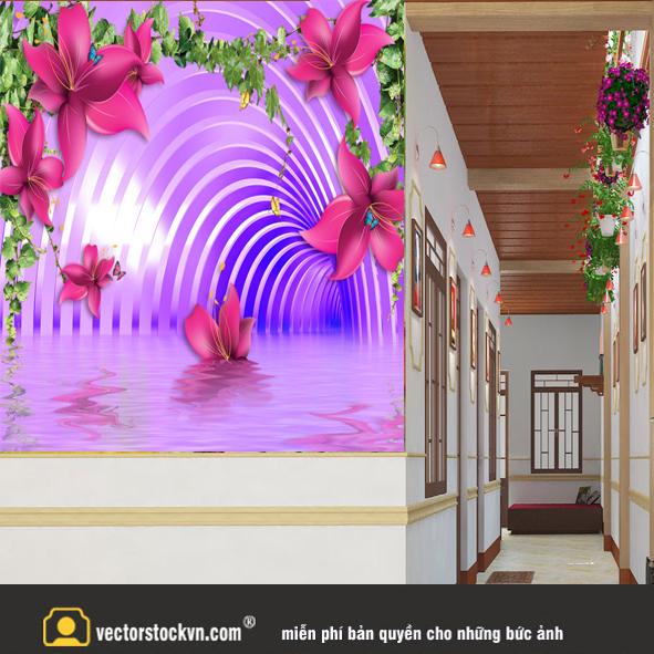 Tranh Hoa 3d màu tím