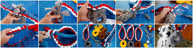 Step-by-step making woven fleece dog tug toys that look like medals
