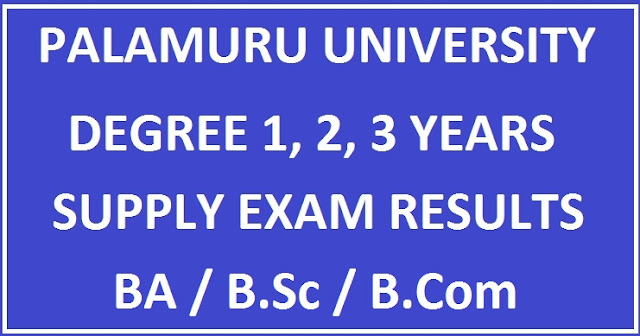 Palamuru University UG Degree Supply Results manabadi